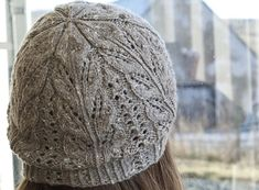 Driftwood Lace Hat in Acadia, knit by Adrienne.