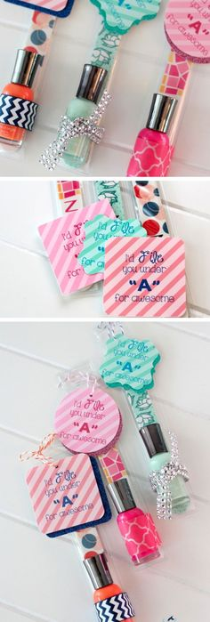Nail File and Polish Gift | Click Pic for 22 DIY Stocking Stuffers for Teen Girls | DIY Holiday Gifts for Teen Girls