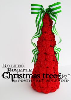 Rolled Rosette Christmas Tree from Positively Splendid. Use crepe paper streamers for this tabletop tree craft.