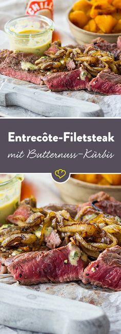 Ein saftiges Entrecôte-Filetsteak harmoniert zu dieser Jahreszeit herrlich mit dem fruchtigen Fleisch der Kürbisse. Dazu eine cremige Kräuter-Sauce.