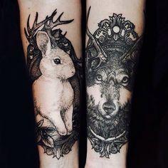 #rabbit #bunny #wolf #antlers #arm #tattoo #skin #ink #art