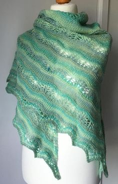 Hand Knitted Supersoft Triangular Lace Shawl  Stripes and