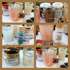 painted fall mason jars, crafts, mason jars, painting, Mason Jars Painted with metallic Paints and acrylic paint using a sponge brush to see more on how this was done go to