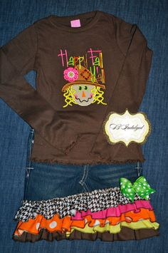 Girls Scarecrow Shirt and Skirt Set by BIndulgedBoutique on Etsy, $67.00