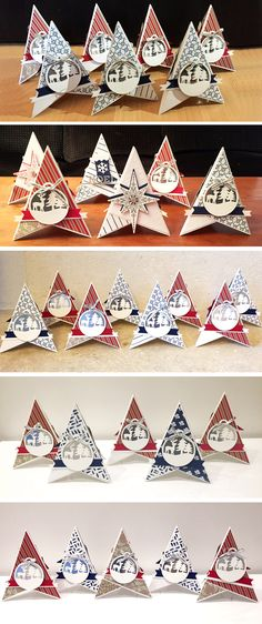 atelier-2016-10-29-2016-11-06-2016-11-11-2016-11-12-2016-11-26 Boxed Christmas Cards, Stampin Up Christmas, Holiday Cards, Cute Crafts, Christmas Crafts, Christmas Decorations, Deco Table Noel, Christmas Pops, Star Cards