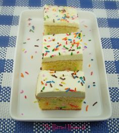 If you love easy desserts and easy recipes, then this recipe for Rainbow Sprinkle Cake Slices is for you! Enjoy.
