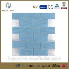 Emsfas006 Blue Glass Mosaic Tile Fan Shape Glass Mosaic