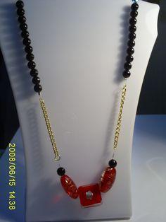 collar aurora  #3240, modelo exclusivo  valor $5000 Pearl Necklace, Beaded Necklace, Collar, Aurora, Pearls, Red, Black, Jewelry, Fashion