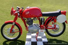 The 1954 Ducati Gran Sport 100 (Mariana) (altho this one is a ' 55) came in a damn good red. Description from ocmoto.com. I searched for this on bing.com/images