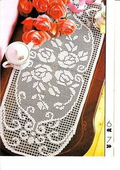"""Filet runner 'Peonies"""" see pattern and chart. Crochet Doily Patterns, Crochet Doilies, Filet Crochet, Knit Crochet, Crochet Magazine, Crochet Tablecloth, Table Toppers, Table Runners, Peonies"""