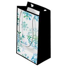 Blue Snowflake Watercolor Art Small Gift Bag - christmas craft supplies cyo merry xmas santa claus family holidays