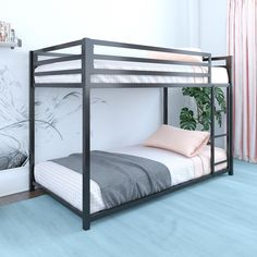 Make the most out of a smaller bedroom with the Porch & Den Wilkesboro Metal Twin/Twin Bunk Bed. Bunk Beds For Sale, Low Bunk Beds, Beds For Small Rooms, Modern Bunk Beds, Metal Bunk Beds, Bunk Beds With Stairs, Kids Bunk Beds, Black Bunk Beds, Trundle Bed With Storage