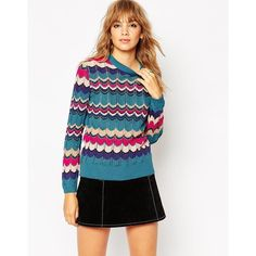 ASOS Jumper In Retro Chevron Stripe featuring polyvore, women's fashion, clothing, tops, sweaters, multi, chevron sweater, jumpers sweaters, crochet top, crochet jumper and lightweight sweaters
