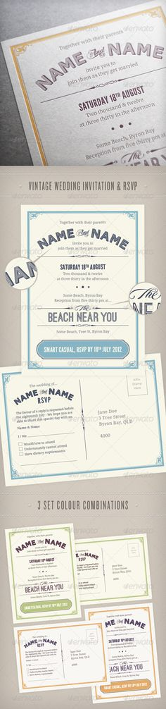 Vintage Wedding Invitation & RSVP | Buy and Download: http://graphicriver.net/item/vintage-wedding-invitation-rsvp/2943121?WT.ac=category_thumb&WT.z_author=PhilEvans&ref=ksioks
