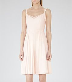 Cohle Lychee Pleated Day Dress - REISS