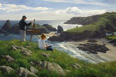 """Life is Art"" by Robert Duncan  This is my wife Linda and I sketching and reading at a wonderful place called Kynance Cove on the south coast of Cornwall, England. One of my only self-portraits."