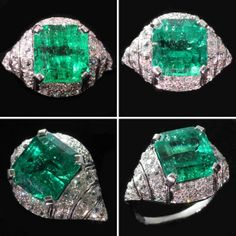 Art Deco Emerald Ring, Colombian Muzo emerald, possibly Belgium origin , ca. 1920