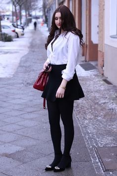 """classic black / white / red outfit. wearing a lace bra combined with a casual white blouse, black """"Tilda"""" Céline sunnies, a black skirt and my favorite classic red bag by picard 
