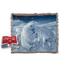 "Coca Cola ""Polar Bear Family"" Vintage Throw and Pillow Set Exclusive | eBay"