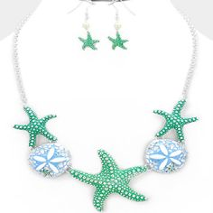 HIGH END SEA LIFE STARFISH CHUNKY NECKLACE & BRACELET JEWELRY SET CHIC & TRENDY #Unbranded