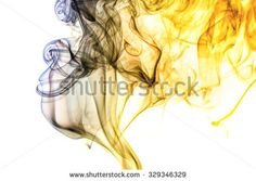 Abstract art. Colored smoke from the incense sticks on a white background. Background for Halloween. Texture fog. Design element. The concept of aromatherapy.