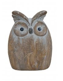 Uil Keramiek Bruin. Afmeting: 12 x 7 x 16 cm. #keramiek, #ceramic, #owl, #uil, #white, #decoration, #decorations, #home, #living, #figure, #figuur, #grey, #brown