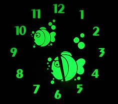 XXL Easy Apply Wall Clock Children Design Home Decor 40x40cm - Fish