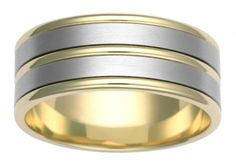 Two tone stripes wedding ring