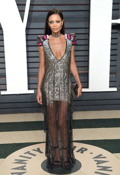 Thandie Newton in Schiaperelli arrives for the Vanity Fair Oscar Party hosted by Graydon Carter. Oscars 2017, Gala Gowns, Evening Dresses, Prom Dresses, Vanity Fair Oscar Party, Silver Dress, Red Carpet Looks, Night Outfits, Red Carpet Fashion