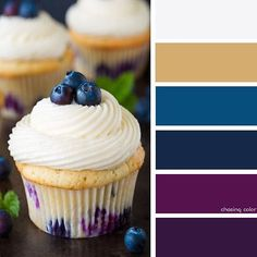 Shades Of A Blueberry Cupcake (Photo Credit: www.cookingclassy.com) #chasingcolor #colorthemes #colorful #shades #tones #hues #color #palette #colorpalette #colorinspiration #inspiration #creativity #art #photography #design #theme #cupcake #dessert #blueberry #blue #berry #purple #gold