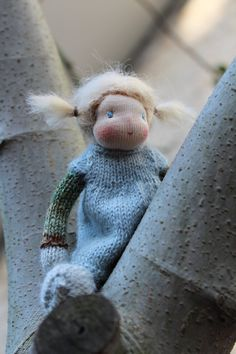 Waldorf doll Waldorf knitted doll Alice 6 / 15 cm by Toddledolls
