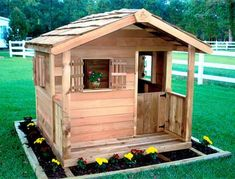 Cedarshed DIY kids garden playhouses are made from non-toxic Cedar wood. The outdoor childrens playhouse kits include plans and assembly hardware. Kids Garden Playhouse, Wooden Playhouse Kits, Cedar Playhouse, Outside Playhouse, Childrens Playhouse, Build A Playhouse, Playhouse Outdoor, Play Houses, Building A House