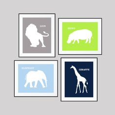 ***** FRAMES ARE NOT INCLUDED****  This listing is for a set of 4 prints that will look beautiful in a nursery, kids room or playroom. ITEM DETAILS: