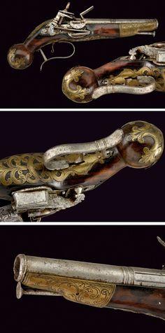 A Ripoll type flintlock pistol:    provenance: Spain dating: 18th Century
