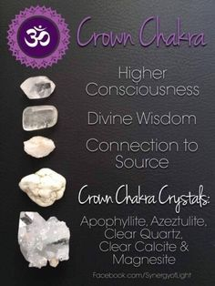 Each one of the seven chakras is a center of a specific kind of energy in the body. Reiki can be used to align the chakras or cleanse them. Chakra Heilung, Chakra Crystals, Crown Chakra, Crystals And Gemstones, Stones And Crystals, Chakra Stones, Throat Chakra, Gem Stones, Chakras Reiki