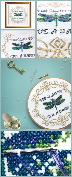 Love this delicate funny cross stitch pattern, the dragonfly is gorgeous