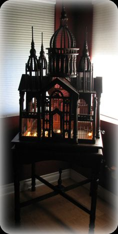 Victorian Architectural carved palace birdcage on matching stand Gothic Furniture, Furniture Decor, Small Bird Cage, Old Mansions, Bird Cages, Gothic House, Magic Carpet, Home Decor Accessories, Bird Houses