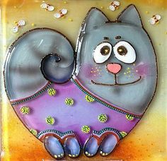 Handmade LOVELY CAT glass fusing techniques gift lovers by ICMCM