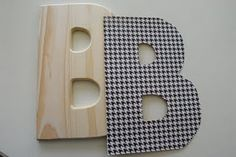 Better directions for wooden letters with scrapbook paper.