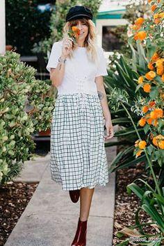 Contemporary Grid Print Skirt