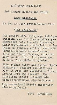 "1959 - Romy Schneider & Carlos Thompson-  film ""Eva"" (""Die Halbzarte"") - presse verso"