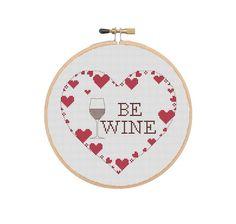 Funny Valentines Cross Stitch Pattern Be Wine Cross Stitch | Etsy Cross Stitch Letter Patterns, Cross Stitch Letters, Funny Valentine, Valentine Day Gifts, Valentines, Tiny Cross Stitch, Love Symbols, Needlework, Wine
