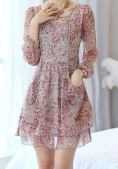 Sweet Scoop Neck Floral Print Chiffon Long Sleeve Women's Dress - GRAY L Mobile
