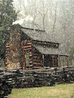 Cabin On Snowy Day