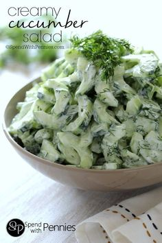This Creamy Cucumber salad is the perfect quick and easy side for any barbecue or picnic! You can use greek yogurt or sour cream for a delicious side everyone will love!!
