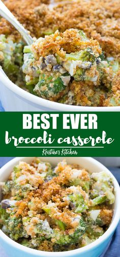 This best ever broccoli casserole from scratch is filled with fresh broccoli, mushrooms, cheddar cheese, and a homemade cream sauce. With a buttery, cheesy breadcrumb topping! This healthier broccoli casserole is made without mayonnaise! Healthy Side Dishes, Vegetable Side Dishes, Side Dish Recipes, Vegetable Recipes, Vegetarian Recipes, Dinner Recipes, Healthy Recipes, Fall Recipes, Dinner Ideas