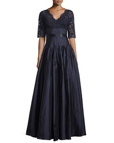 Half-Sleeve+Lace+Combo+Gown,+Navy+by+Rickie+Freeman+for+Teri+Jon+at+Neiman+Marcus.