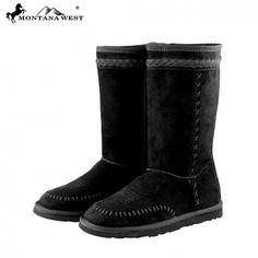 Black Saddle Stitched Women's Winter Boots
