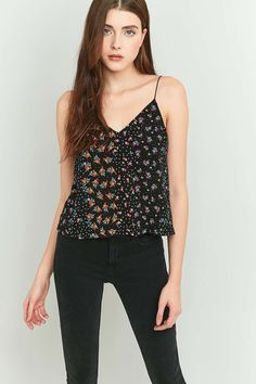 Urban Outfitters Floral Black Cami