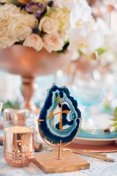 Custom Table Numbers Modern Geometric Styled Shoot Handlettered Gold Ink Bright Blue Turquoise Geodes